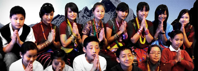 Gurkha students doing 'namaste' the traditional Nepali greeting, Brecon High School, Wales 2008