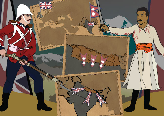 Illustration of Bal Bahadur Singh Thapa Kunwar confronting a British Soldier with maps showing the sequence of events