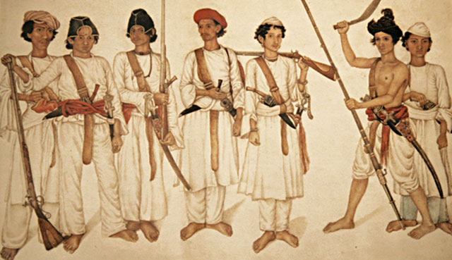 Painting of Gurkha sepoys (soldiers) c.1815 by HEIC artist Ghulam Khan
