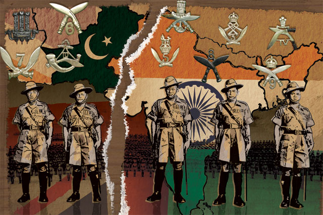 Montage showing soldiers of the  7th Gurkha Rifles shortly after the Partition of India surrounded by the regimental insignia of the 10 Gurkha regiments
