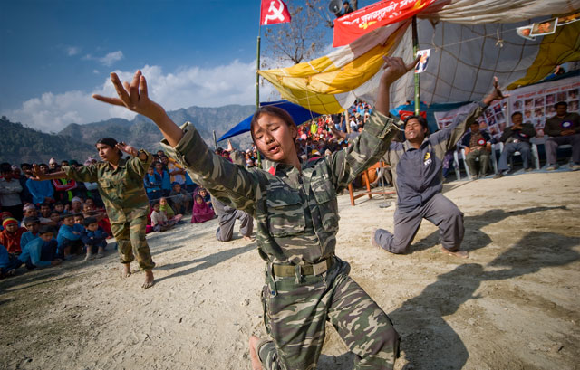 A cultural show by Maoist soldiers