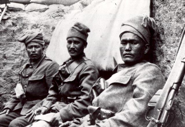 Soldiers of the 6th Gurkha Rifles in the trenches