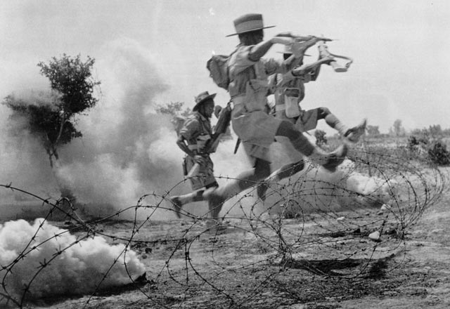 4th Gurkha Rifles leaping barbed wire